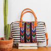 Striped Day Bag with Leather & Corte