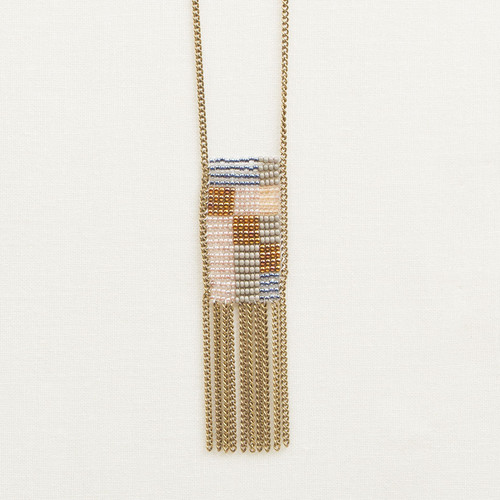 Graphic Necklace with Chain Fringe