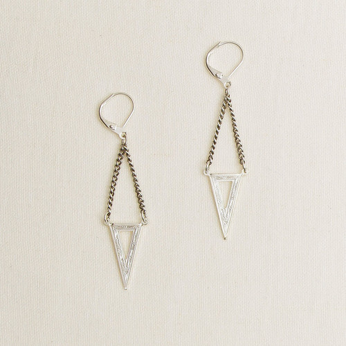Brass Etched Triangle Earrings