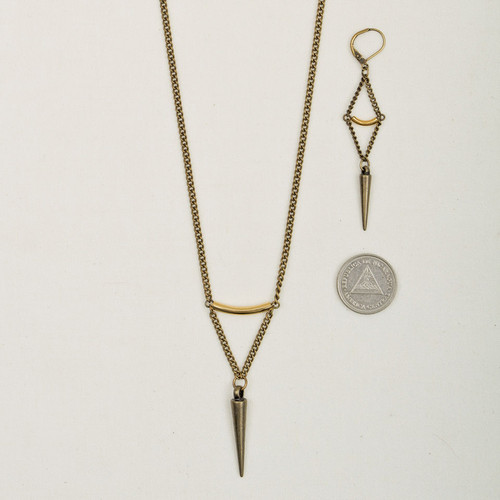 Brass Chain & Spike Earrings*