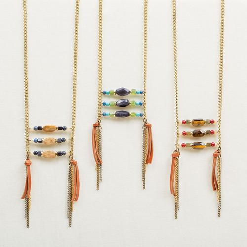 Stone Ladder Fringe Necklace
