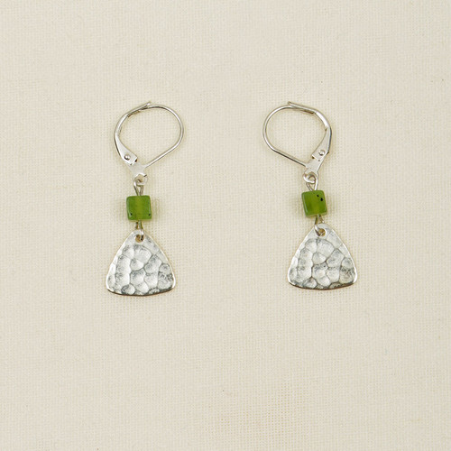 Hammered Triangle with Stone Earrings