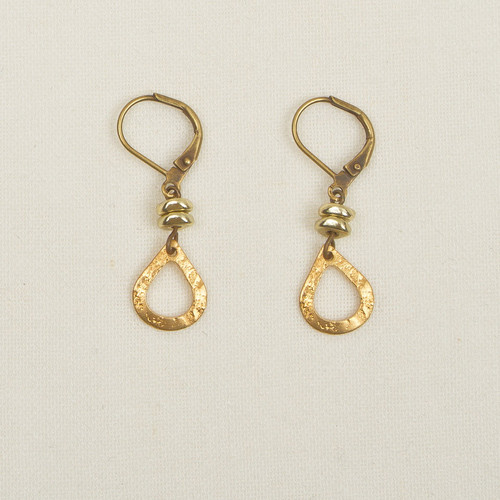 Small Brass Hammered Drop Earrings
