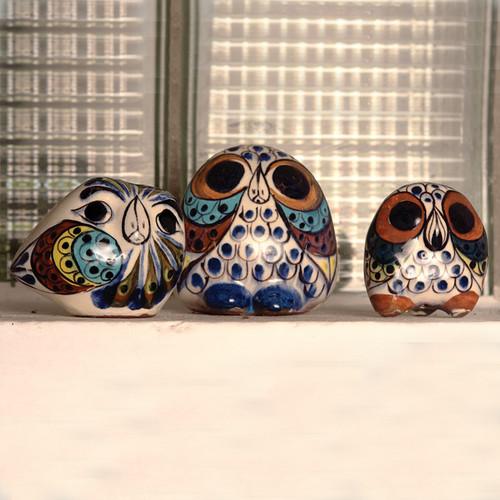 Handmade Ceramic Owls Set of 3