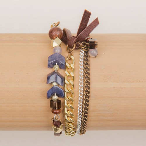 Triple Wrap Stone, Chain & Leather Bracelet