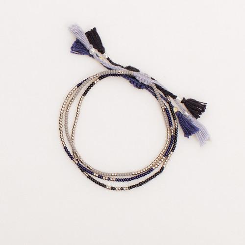 Silver Bead Tassel Bracelet