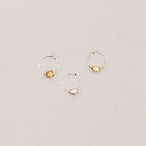 Tiny Hoops with Faceted Metal Bead