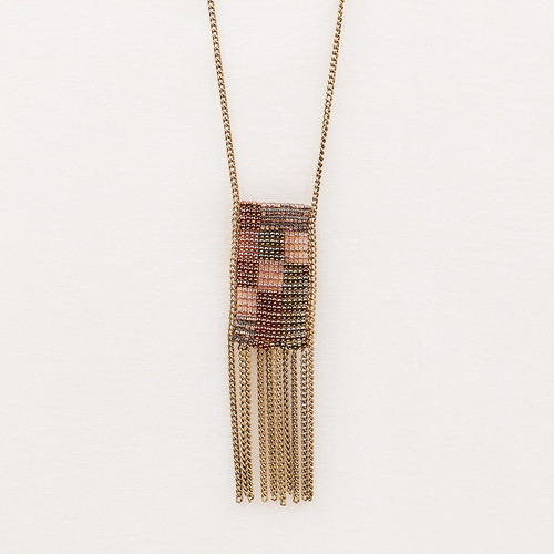 Graphic Chain Fringe Necklace