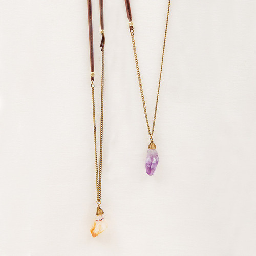 Amethyst or Citrine & Leather Long Necklace