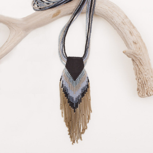 Leather & Chain Fringe Long Necklace