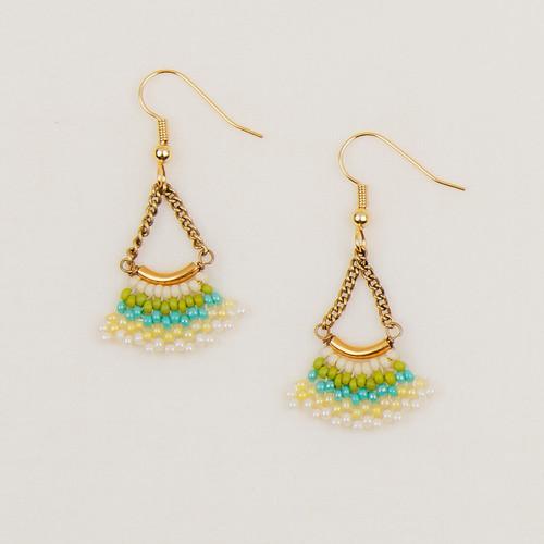 Beaded Gold Bar Earrings