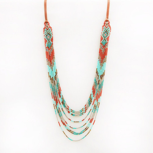Mayan Loom Multi Strand Long Necklace