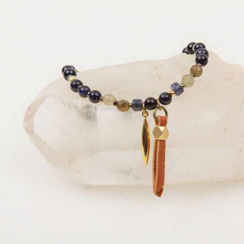 Leather & Gold Spear Stone Bracelet