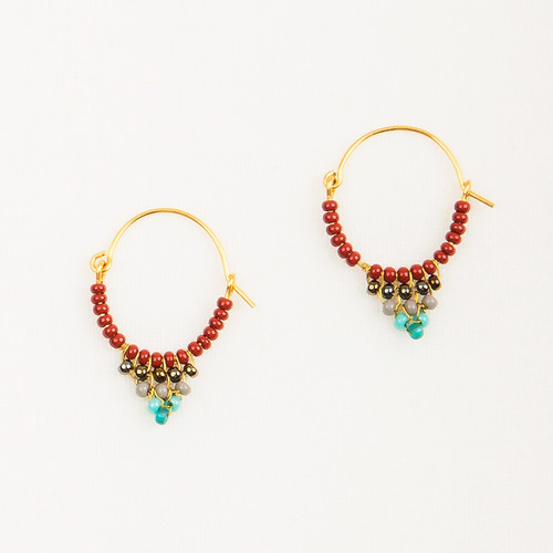 Small Beaded Hoop Earring