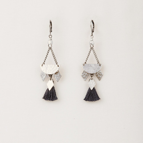 Half Moon Tassel Earrings