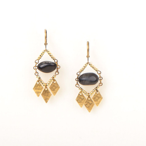 Bronze Stone & Metal Diamond Earrings