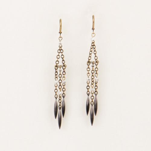 Facted Metal & Triple Spear Earrings