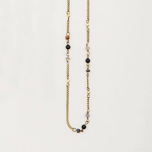 Long Stone Chain Necklace/Wrap Bracelet