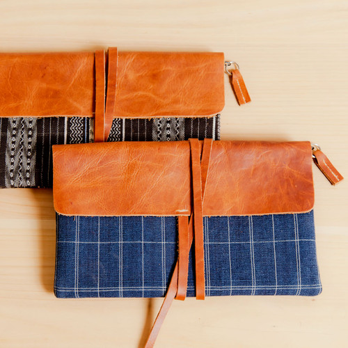 Corte Clutch with Leather