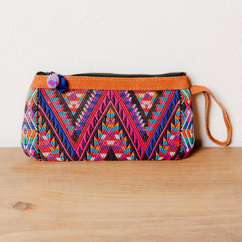 Huipile Wristlet with Pom Poms