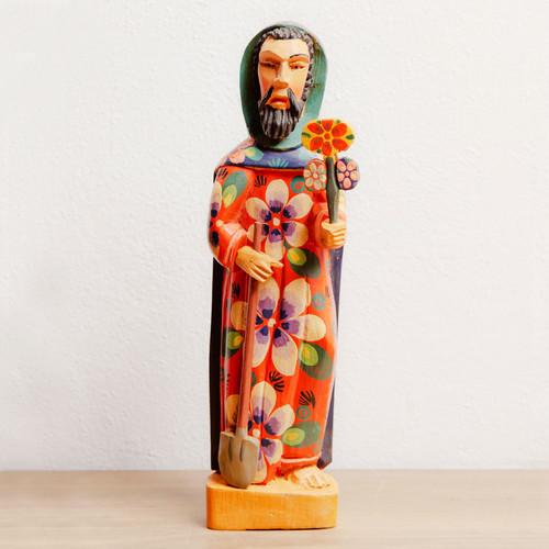 Saint Fiacre Gardener Statue Hand Carved Wood