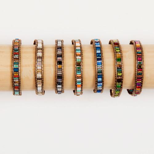 Handmade Bracelet Miyuke Bead & Leather