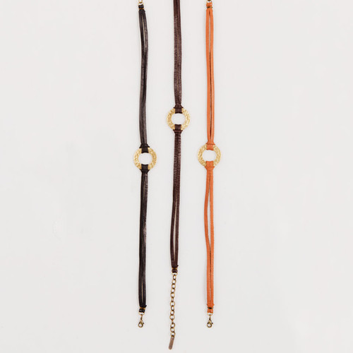 Leather Choker with Hammered Hoop