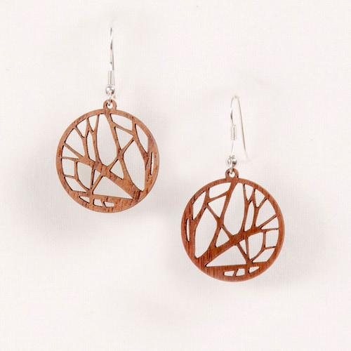 Wood Tree Earrings