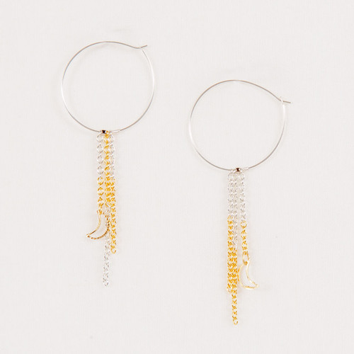 Dangle Hoop Moon Earrings