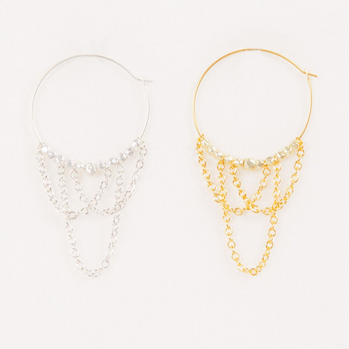 Criss Cross Chain Hoops