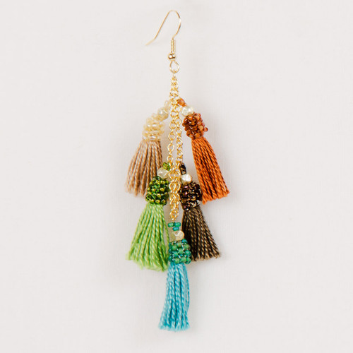 Multi Tassel Dangle Earring