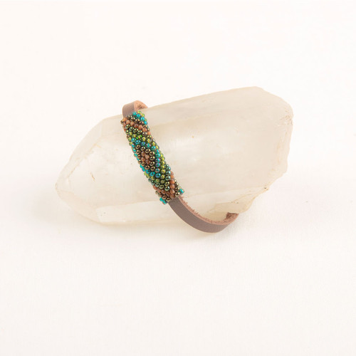 Leather Bracelet with Bead Focal