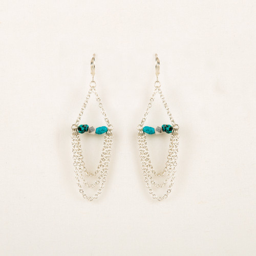 Chain Loops & Turquoise Nugget Earring