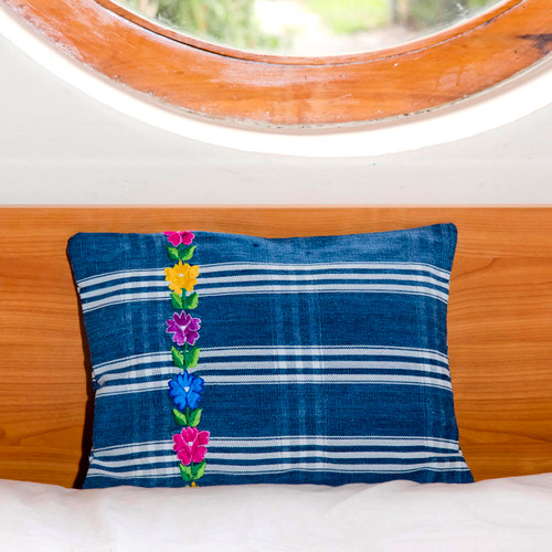Indigo Denim Corte Pillows with Embroidery