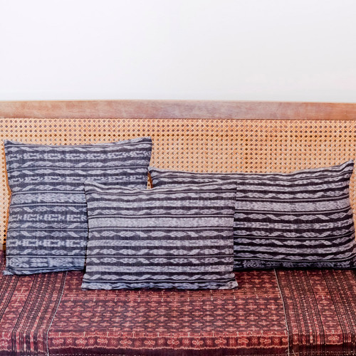 Double Sided Black & White Ikat Corte Pillows