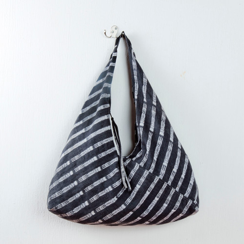 Black & White Handwoven Hobo Bag