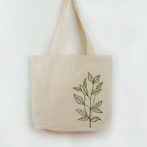 Embroidered Leaf Tote