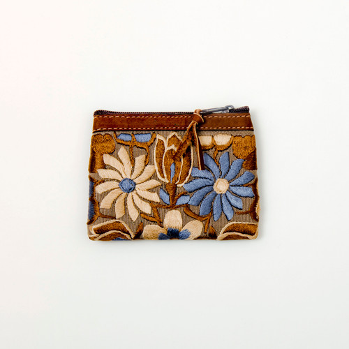 Embroidered Change Purse with Leather