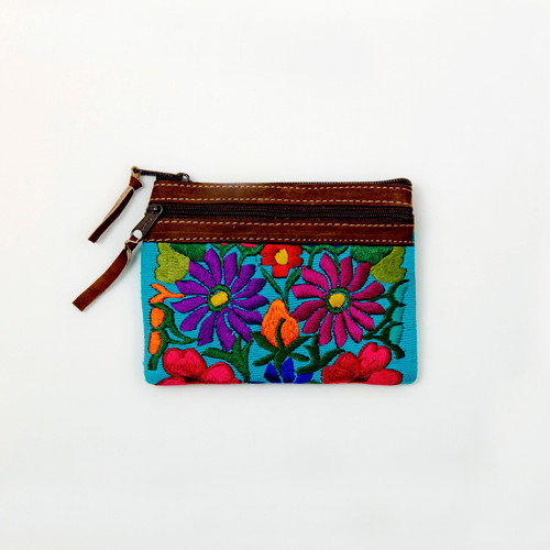 Embroidered Zip Change Purse with Leather