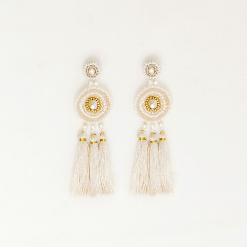 Circle Post with Tassels Earring