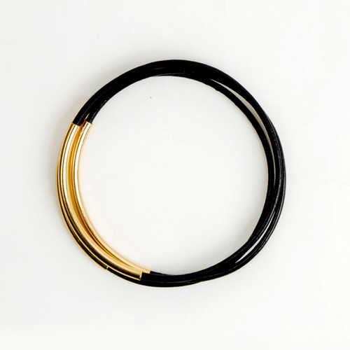 Leather & Metal Bar Bangles