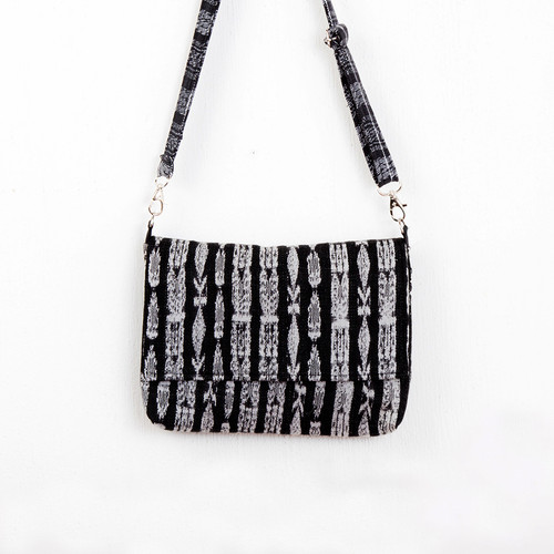 Black & White Ikat Crossbody Bag