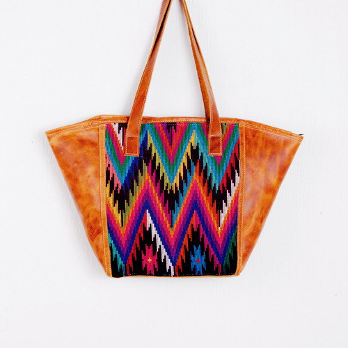 Huipile & Leather Geo Tote