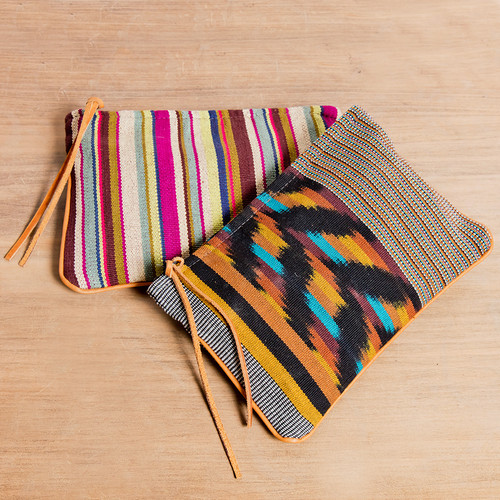 Handwoven Cosmetic with Leather Detail