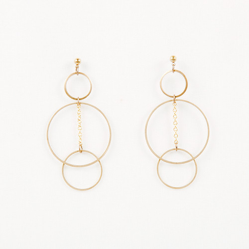 Triple Hoop Post Earrings