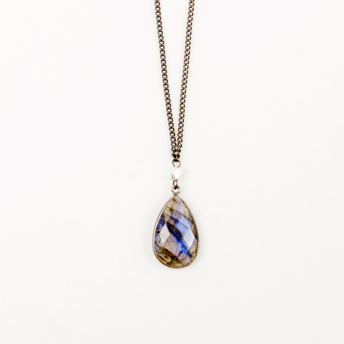 Labradorite Bezel Drop Necklace