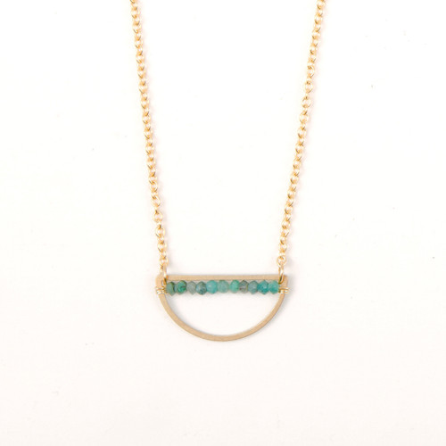 Chrysocolla Rondell Half Moon Necklace