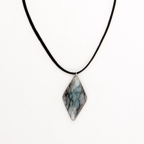 Faceted Bezel Labradorite Pendant Necklace
