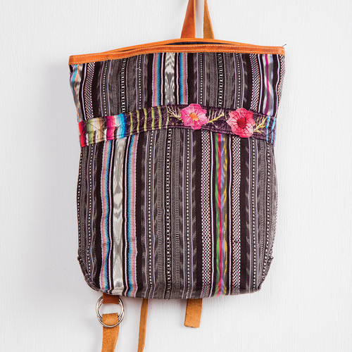 Embroidered Corte Backpack with Leather