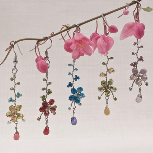 Flower Drop Wire Earrings